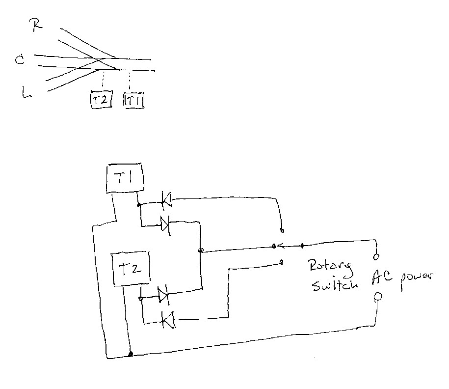 projects page wiring diagram for two stall motor type tortoise switch machines on a three way turnout using a 2 way rotary or three pole switch